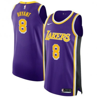 kobe bryant authentic lakers home jersey number eight size large