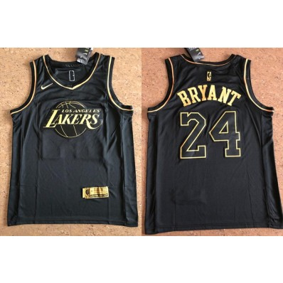 mens / youth kobe bryant lakers 24 golden edition jersey black